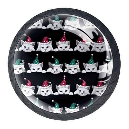 Manijas para cajones Perillas para gabinetes Perillas Redondas Paquete de 4 para armario, cajón, cómoda, cómoda, etc., Pintura de tres gatos cerca