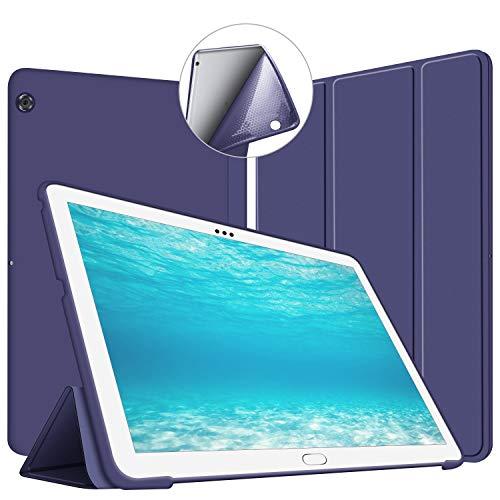 VAGHVEO Huawei MediaPad T5 10 ケース 10.1インチ ソフトカバー 全面保護 三つ折りスタンド 耐衝撃 薄型 軽量 PUレザー 手帳型カバー 傷つけ防止 -ネービーブルー