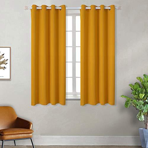 BGment Vorhänge Gardine Verdunklungsgardine mit Ösen 2 Stück Sonnenschutz für Schlafzimmer, Wohnzimmer (2X H 137 X B 117cm, Gelb)