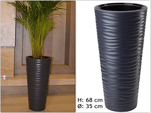 XXL Pflanzkübel Slim Rund 3D Effekt - Wellen - Farbe: Anthrazit mit Herausnehmbaren Einsatz, DxH: 35 x 68,5 cm