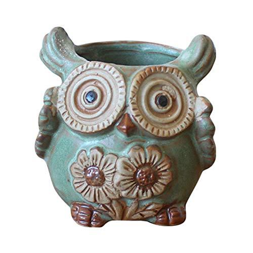 SeniorMar Sukkulenten Pflanzen Eule Keramik handgemachte Blumentopf Home Office Garten Dekorationen Blumentopf