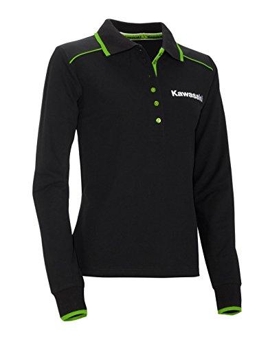 Kawasaki Polo Shirt Langarm Damen ! NEU ! schwarz grün (S/M, sw)