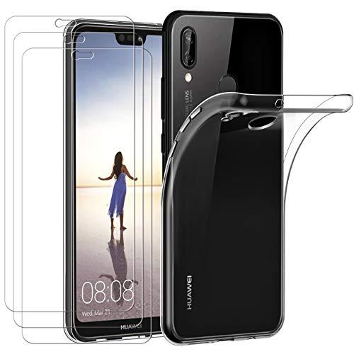 ivoler Hülle für Huawei P20 Lite 2018 + [3 Stück] Panzerglas, Durchsichtig Handyhülle Transparent Silikon TPU Schutzhülle Hülle Cover mit Premium 9H Hartglas Schutzfolie Glas