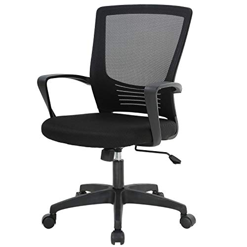 Office Mid Back Desk Chair, Ergonomic Office Chair Mesh Executive Office Chair with Adjustable Seat Lumbar Support Armrest Swivel Computer Desk Chair for Home Office Study