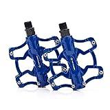 FCSW Bicycle Pedal, Bicicleta De Montaña Pedal Ultraligero Carretera Plegable Pedales De Bicicleta Repuestos (Color : Azul)