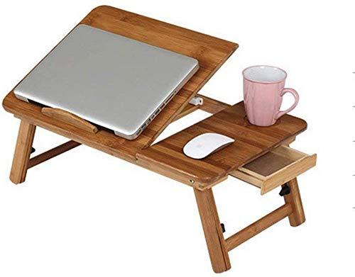 Lazy - Mesa plegable portátil de bambú plegable para ordenador portátil, altura ajustable, mesa con cajón de 55 x 35 x 22,5 ~ 31 cm, ahorra espacio
