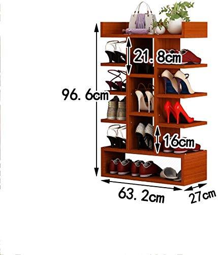 YLCJ Opberging, meerdere lagen, van massief hout, verticale planken, kleur teak, multifunctioneel, robuust en duurzaam (kleur: 1, grootte: 63,2 x 27 x 114,2 cm) 63.2 * 27 * 96.6cm 1 exemplaar