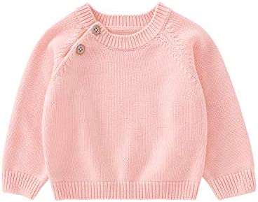 pureborn Baby Girls Cotton Knit Solid Pullover Sweater Solid Pink 6 12 Months product image