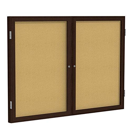 "Ghent 4"" x 5"" 2-Door  indoor Enclosed Bulletin Board, Shatter Resistant, with Lock, Wood Frame Walnut Finish  Natural Cork (PN245K)  Made in the USA"