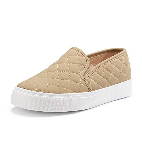 JENN ARDOR Women's Fashion Sneakers Classic Slip on Flats Comfortable Walking Sports Casual Shoes TAUPE7.5 US