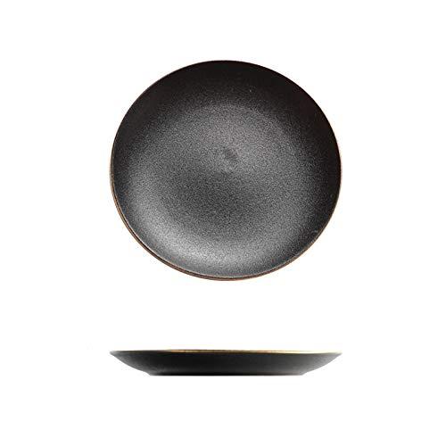 Platos llanos Placa de porción de cerámica grande, filete de glaseado mate negro, placa de pasta, placa de cena redonda adecuada para familia y restaurante Platos de comida ( Size : 1pack )