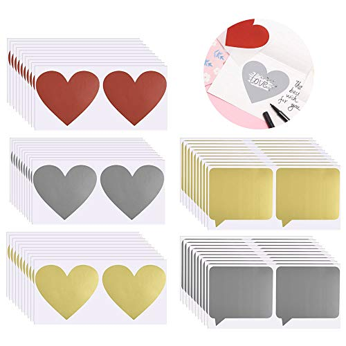 PERFETSELL 100 Stücke Rubbel Etiketten Herz Quadratisch Rubbelsticker Selbstklebend Rubbeletiketten Gold Silber Rot Rubbelaufkleber Sticker zum Basteln von Rubbelkarten Rubbellose Hochzeit