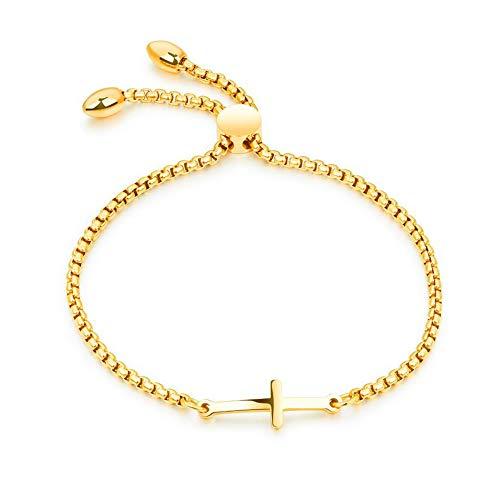 MiniJewelry Sideways Cross Bracelet for Girls Adjustable Stainless Steel Sideways Cross Bracelet for Women Birthday Gift Gold