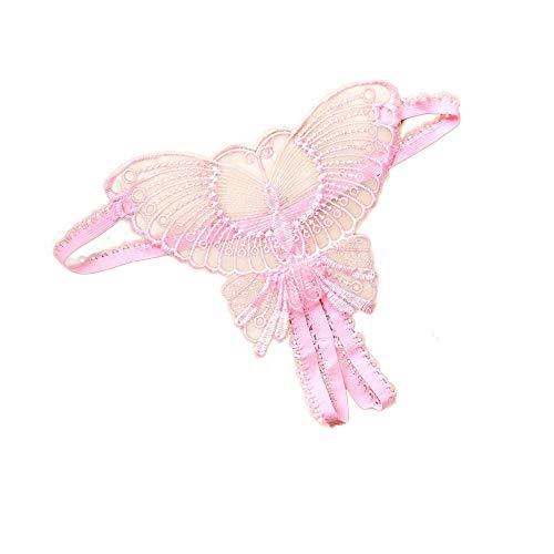 XJKLFJSIU Damen Höschen/Super Sexy Hohle Stickerei Offene Schritt Thong/T Pants Free Ladies Sexy Höschen/Schmetterling Form Sexy Höschen, Pink