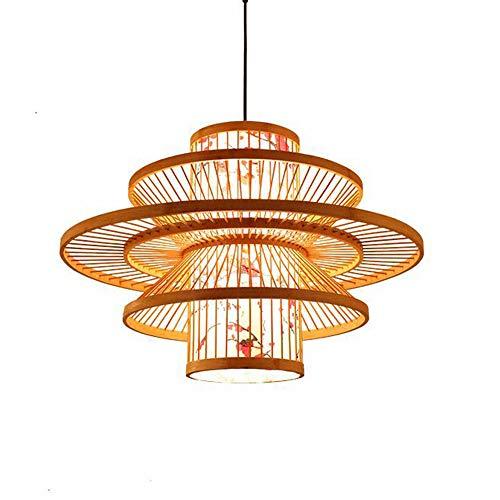 Wj Moderno Rama Simple Forma Pendiente de la lámpara de luz del sudeste asiático bambú Tropical Tejiendo la lámpara del Techo del Pasillo Escaleras Comedor Bricolaje Mimbre Pantalla 19.7 * 15.8in