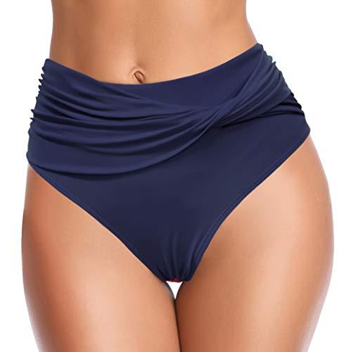 SHEKINI Mujer Bikini brasileña Traje de baño diseño retorcido Playa Estiramiento Sexy Bikini brasileño de Cintura Alta Braguita de Bikini (M, Twist-Azul Oscuro)
