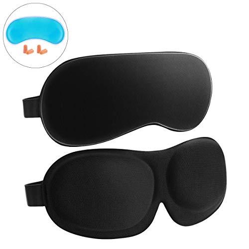 Frcolor Sleep Mask 2 Pack, 3D konturierte Eyemask Silk Augenmaske zum Schlafen, wiederverwendbare Ice Pack und EarPlugs enthalten