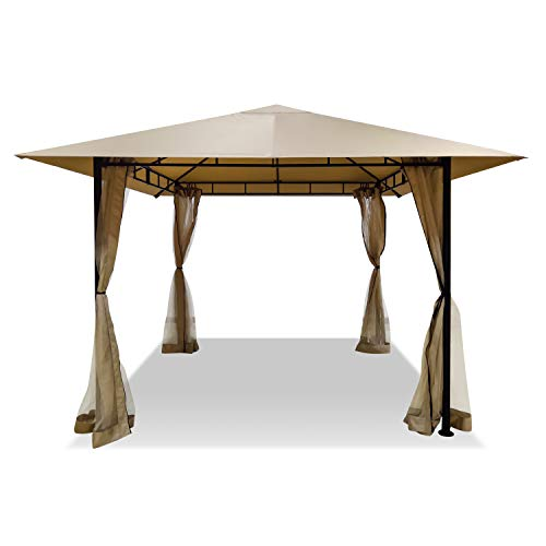 DikaSun Gazebos for Patios Single Roof Gazebo with Curtains, Outdoor...