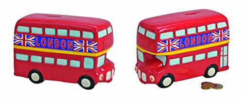 Spardose London-Bus in Rot | Keramik-Sparbüchse englischer Bus 19x8x12cm mit Schlüssel und Schloss | Roter Routemaster-Bus England | Abschließbares Sparschwein als Urlaubskasse & Reisekasse