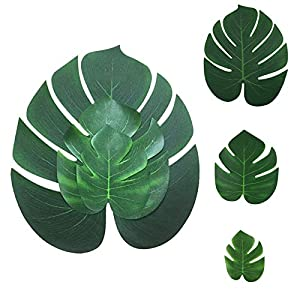 Hwceo Artificial Plants Greenery for Home Decor,Wedding, Silk Fabric Green Topiary Faux Mixed Tropical Fan Palm Leaf
