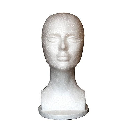 Gsdviyh36 Female Foam Mannequin Manikin Head Model Shop Wig Hair Jewelry Display Stand, Flat and Smooth Without Holes, Non-Toxic and Odorless White 50X31CM