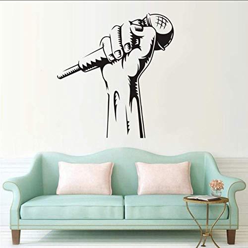 Vinyl Wandmikrofon Hand Wandaufkleber Karaoke Club Dekoration Rap Battle Sänger Wandkunst Musik Wallpaper 42X45Cm