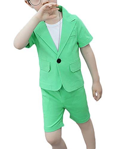 Shaoyao Niño Traje Traje Ceremonia Blazer Chaqueta Pantalones,Vestido de Rendimiento Verde 160