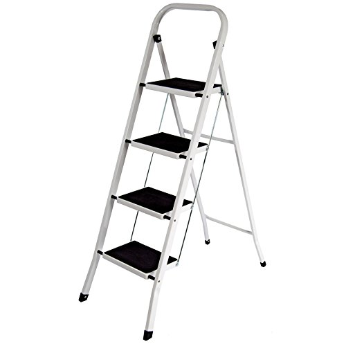 Vida Designs 4 Step Ladder, Heavy Duty Steel, Folding, Portable with Anti-Slip Mat
