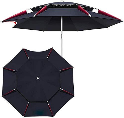 Parasols jardín patio paraguas, paraguas de pesca negro paraguas paraguas paraguas 2m (6.5ft) /2.2m (7.2ft) /2.4m (7.8ft) /2.6m (85FT) 360DEG;Ajustable anti-UV / con accesorios, sin base LQHZWYC Jiale