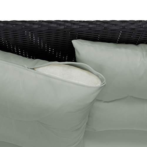 SVITA Poly Rattan Ecksofa Rattan-Lounge Esstisch Gartenmöbel-Set Sofa Garnitur Couch-Eck (Dining Set, Schwarz) - 6