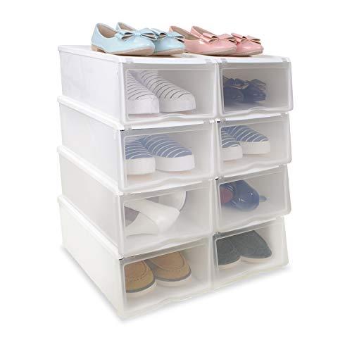 8x Cajas Organizadoras Apilables Anti-manchas Transparentes para Zapatos, Conjunto de Estantes Zapateros Desmontables Amontonables de Almacenamiento de Plástico Reforzado, 33x22x14cm, Color Blanco