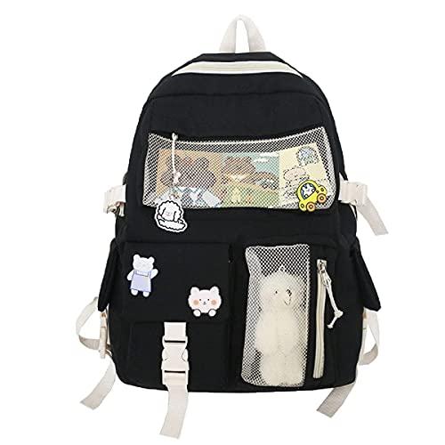 Kawaii, zaino da donna in tela, carino zaino da viaggio per studenti Bookbag Daypack portatile, Nero , L