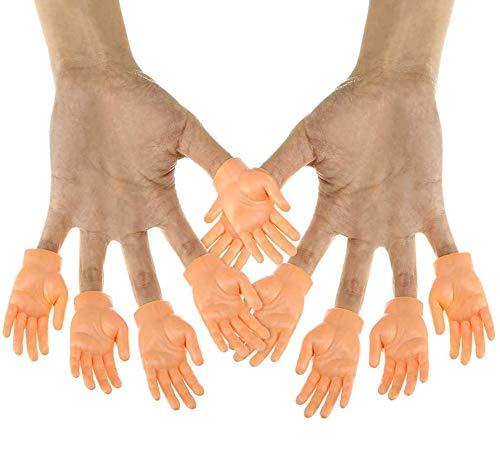 Okssud Winzige Fingerhände, 10 Pcs Tiny Hand Fingerpuppen Kleiner Finger Props Für Hände Halloween Hand Prop Zubehör, Mini Gummi Puppen Finger Hände Fingerpuppen Set