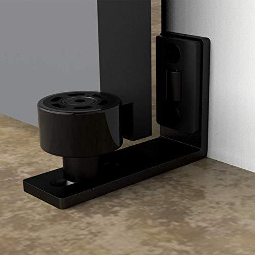 Guía de suelo ajustable para puerta de madera corredera, 2 unidades, color negro