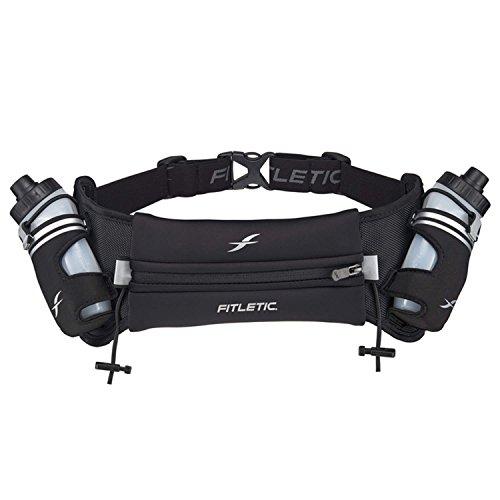 Fitletic Hydration Belt | Unique Zero Bounce Design for Running, Triathlon, Ironman, Marathon, 10K, 5K, Trail | HD06-C1L Hydra 12 V2 Water Bottle Belt, Large/Extra Large, Black