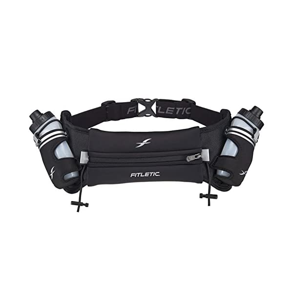 Fitletic Hydra 16 Trail Hydration Belt – Small/Medium, Black | Patented No Bounce...