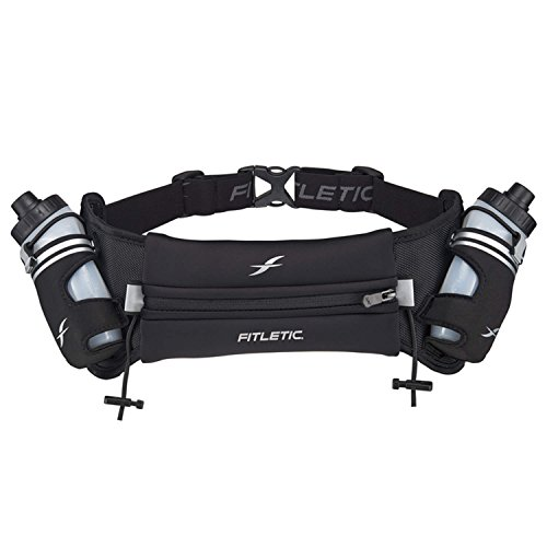 Fitletic Hydra 16 Hydration Belt – Extra Large, Black | Patented No Bounce Technology for Marathon, Triathlon, Ironman, Trail, 5K, 10K | Race Belt | Running Belt | HD08-C1L