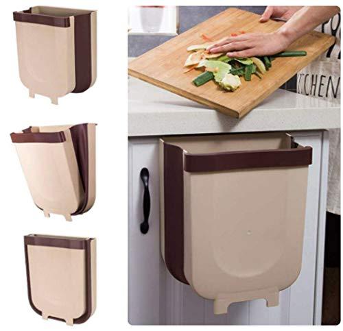 JMGoodstore Cubos Plegable Colgando para la Cocina,Plegable Cubo Basura Extraible pequeño y Compacto Contenedor Organizador Armario Cocina (Marrón)