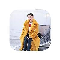 右边冬の女性のフェイクファーコートふわふわの毛皮のような厚く暖かいぬいぐるみコートブラックイエローロングフェイクファージャケット、イエロー、XXXL