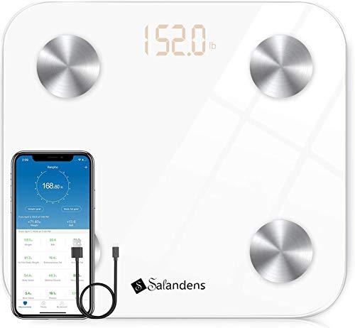 Báscula Grasa corporal,Báscula Inteligente Bluetooth de Carga USB,Báscula de Baño Inteligente Wireless,Analizador Digital Más de 12 Funcion, Medidora Composición Corporal, Vidrio Templado, Peso Máx 400 libras para iOS y Andriod