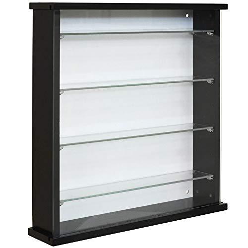 WATSONS EXHIBIT - Wood 4 Shelf Glass Wall Display Cabinet - Black