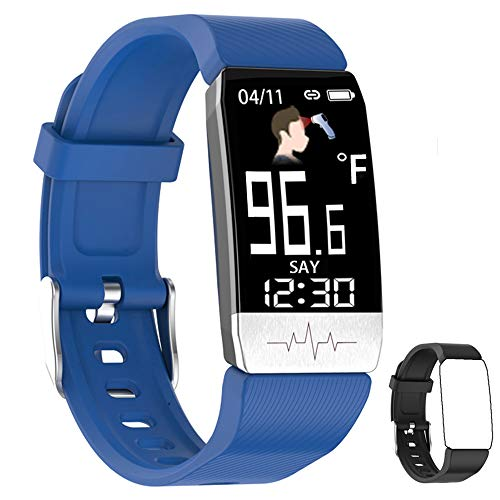 YZJ Fitness Tracker,Body Temperature Watch with Heart Rate Blood Oxygen Blood Pressure Monitor,Pedometer Smart Watch with Sleep Monitor, Step Counter for Kids Women Men (c-Blue+Black)