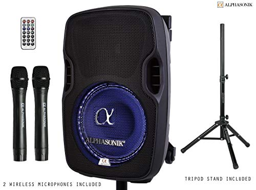 Alphasonik 8' Portable Rechargeable Battery Powered 800W Pro DJ Amplified Loud Speaker with 2 Wireless Microphones Echo Bluetooth USB SD Card Aux MP3 FM Radio PA System LED Ring Karaoke Tripod Stand