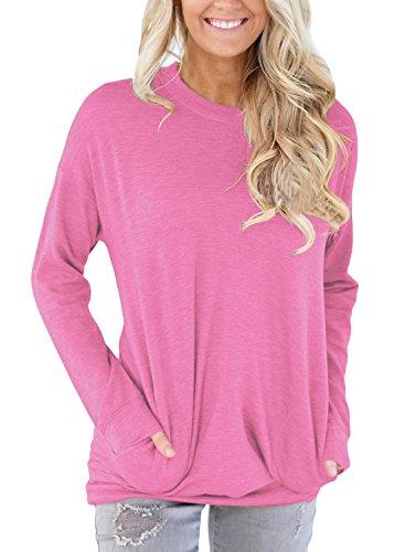 HOTAPEI Women Plus Size Casual Long Sleeve Round Neck Sweatshirt Loose Tshirt Womens Tunics Blouses Tops Pink XXL