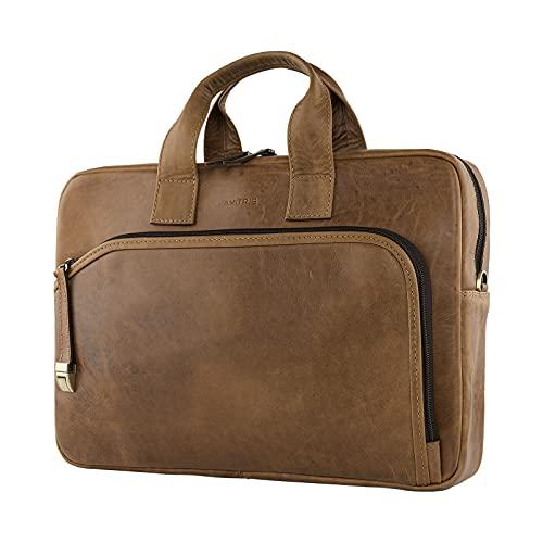AMITRIS Bolso bandolera de piel auténtica para portátiles de hasta 15,6 pulgadas, para negocios, trabajo, oficina, 40 x 28 x 8 cm, color Marrón, talla Medium