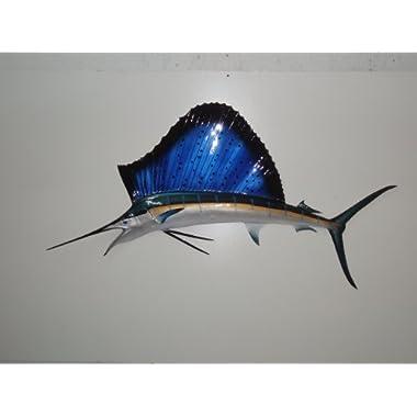 58  Sailfish Half Sided Fish Mount Replica, Affordable Coastal Decor - Indoors Or Outside.