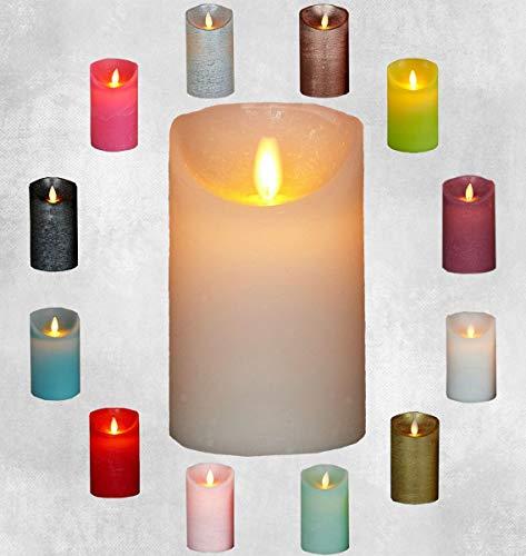 LED Echtwachskerze Kerze Farbauswahl Timer flackernde Wachskerze Kerzen Batterie, Farbe:Elfenbein, Größe:12.5 cm