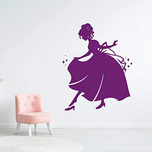 mlpnko Prinzessin Zimmer Wanddekoration und Fee Kleid Prinzessin Wandaufkleber Kinderzimmer Wandaufkleber Vinyl Wandkunst,CJX11154-46x55cm