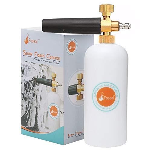 "Foseal Snow Foam Lance Jet Wash Pressure Car Washer Foam Cannon 1L Bottle Adjustable Thick/Watery Soap Foam, with 1/4"" Quick Release Foam Blaster for Washer Gun, Heavy Duty Brass Knob"