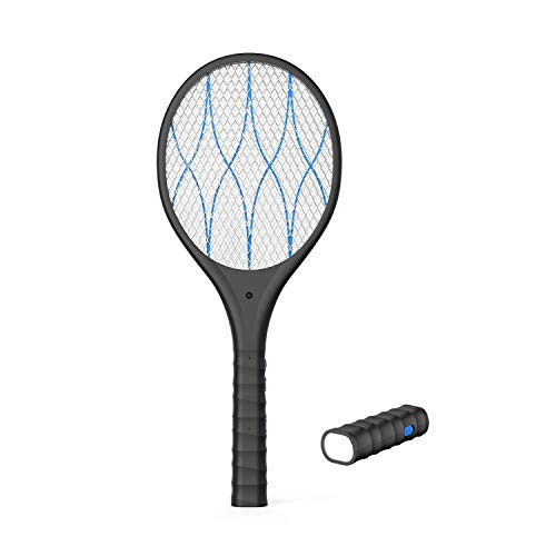 FLASHVIN Electric Large Bug Zapper Racket, Mosquito Killer, Fruit Fly Swatter Zap, Pest Control, 4,000 Volt, USB Rechargeable, LED Lighting, Removable Flashlight, Unique 3 Layer Safety Mesh